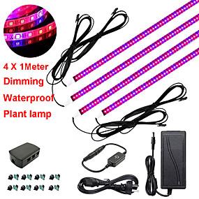 billige LED Økende Lamper-zdm 4x1m 36w dimming led botanikk vokse lysstrimler med rødblått spektrum for å vokse hylle drivhusanlegg og 12v 3a adapter