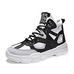 baratos Botas Masculinas-Homens Fashion Boots Lona / Couro Ecológico Primavera / Outono & inverno Esportivo / Casual Botas Corrida / Caminhada Respirável Branco e Preto / Marron / Bege