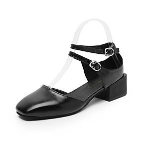 baratos Mocassins Femininos-Mulheres Sapatos de Barco Salto Robusto Ponta quadrada Couro Ecológico Verão Preto / Bege