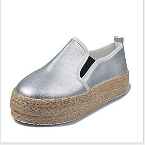 voordelige Damesschoenen met platte hak-Dames Platte schoenen Platte hak Ronde Teen PU Zomer Zwart / Wit / Goud