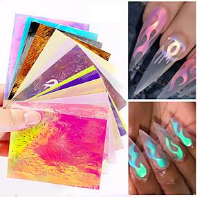 hesapli folyo Kağıt-Alev çıkartma tırnak sıcak stil lazer yanardönerlik tırnak sopa ile 16 renk bir sakız