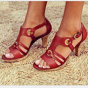 cheap Pre Sale-Women's Sandals Stiletto Heel Round Toe Buckle PU(Polyurethane) Summer Black / Green / Red