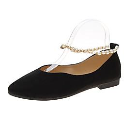voordelige Damesschoenen met platte hak-Dames Platte schoenen Platte hak Gepuntte Teen Imitatieparel Satijn Zoet Wandelen Lente & Herfst Zwart / Roze en Wit / Amandel
