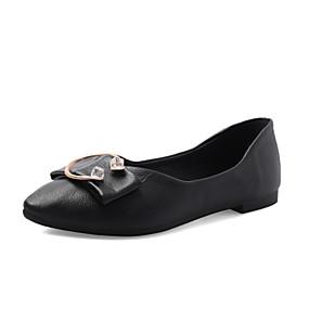 voordelige Damesschoenen met platte hak-Dames Platte schoenen Lage hak Gepuntte Teen PU Herfst / Lente zomer Zwart / Wit / Beige