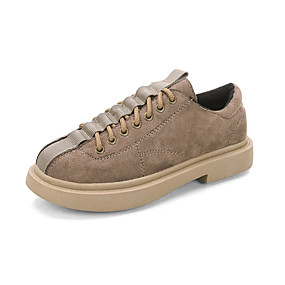 voordelige Dames Oxfords-Dames Oxfords Lage hak Ronde Teen Suède Herfst winter Zwart / Khaki