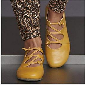 voordelige Damesschoenen met platte hak-Dames Platte schoenen Platte hak Ronde Teen Leer Zomer Geel / Rood / Blauw