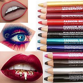 hesapli Göz Farları-Çok İşlevli su geçirmez dayanıklı göz farı kalem dudak kalemi ruj kalem kalemtıraş