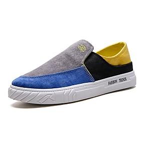 baratos Sapatilhas e Mocassins Masculinos-Homens Sapatos Confortáveis Lona Verão Mocassins e Slip-Ons Estampa Colorida Amarelo / Azul / Cinzento