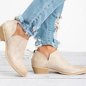 billige Mote Boots-Dame Støvler Blokker hælen Rund Tå PU Ankelstøvler Sommer Svart / Rosa / Beige