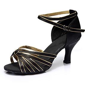 cheap Pre Sale-Women's Dance Shoes Satin Latin Shoes Heel Slim High Heel Customizable Black / Gold / Performance