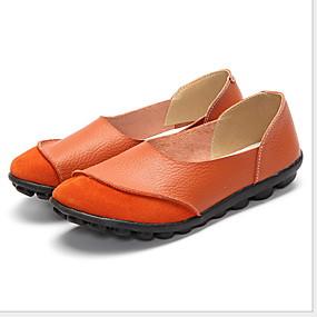 voordelige Damesinstappers & loafers-Dames Loafers & Slip-Ons Platte hak Ronde Teen Leer Zomer Zwart / Fuchsia / Oranje