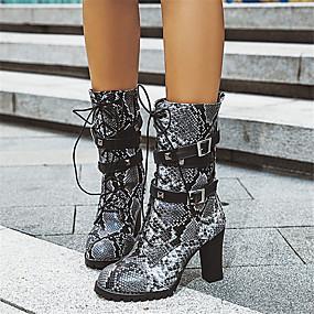 billige Mote Boots-Dame Støvler Kubansk hæl Rund Tå Spenne PU Støvletter Fritid / minimalisme Høst vinter Svart / Brun