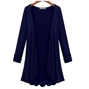 cheap Clearance-Women's Solid Colored Long Sleeve Cardigan, V Neck Black / Light Blue / White M / L / XL