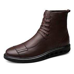 baratos Botas Masculinas-Homens Sapatos de couro Pele Napa Inverno Esportivo / Casual Botas Caminhada Manter Quente Botas Cano Médio Preto / Castanho Escuro