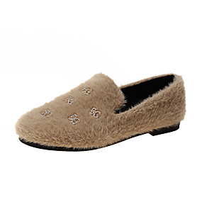 voordelige Damesinstappers & loafers-Dames Loafers & Slip-Ons Platte hak Ronde Teen Imitatiebont Lente & Herfst Zwart / Bruin / Wit