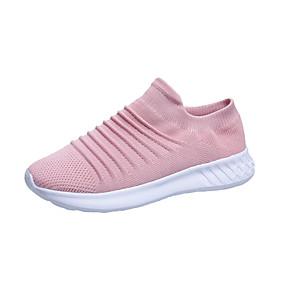 baratos Sapatos Esportivos Femininos-Mulheres Tênis Creepers Ponta Redonda Tissage Volant Caminhada Primavera & Outono Preto / Rosa claro / Cinzento
