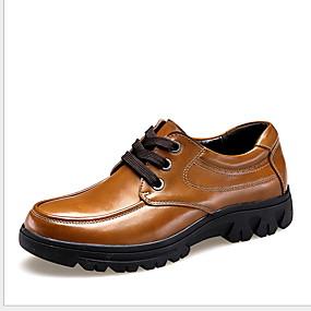 baratos Oxfords Masculinos-Homens Sapatos Confortáveis Couro Ecológico Verão Oxfords Manter Quente Preto / Castanho Escuro / Marron