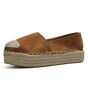 voordelige Damesschoenen met platte hak-Dames Platte schoenen Platte hak Ronde Teen Suède Zomer Zwart / Luipaard / Geel