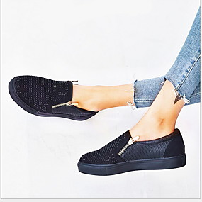 billige Sneakers til damer-Dame Treningssko Flat hæl Rund Tå PU Sommer Svart / Hvit / Blå