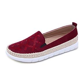 voordelige Damesschoenen met platte hak-Dames Platte schoenen Platte hak Ronde Teen Strass Linnen / PU Informeel / minimalisme Herfst / Lente zomer Zwart / Amandel / Rood