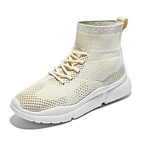voordelige Damessneakers-Dames Sneakers Platte hak Ronde Teen Netstof Informeel / minimalisme Lente & Herfst Zwart / Roze / Beige