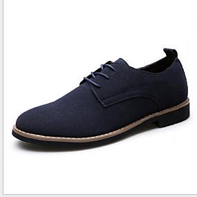 baratos Oxfords Masculinos-Homens Sapatos Confortáveis Camurça Verão Oxfords Respirável Preto / Castanho Escuro / Azul Escuro