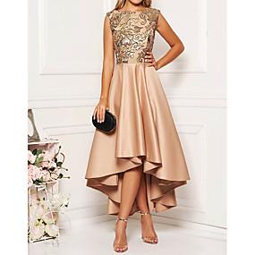 billige Udsalg-Dame Elegant A-linje Kjole - Blomstret Asymmetrisk