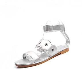 voordelige Damesschoenen met platte hak-Dames Platte schoenen Platte hak Open teen  Gesp Imitatieleer Informeel / minimalisme Wandelen Zomer / Lente zomer Zwart / Zilver