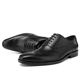 baratos Oxfords Masculinos-Homens Sapatos de couro Couro Primavera Verão Oxfords Preto / Marron / Ponta quadrada