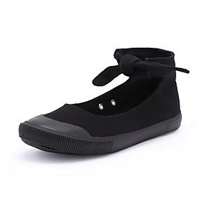 voordelige Damesinstappers & loafers-Dames Loafers & Slip-Ons Platte hak Ronde Teen Gestrikt lint Canvas Informeel Zomer Zwart / zwart / wit