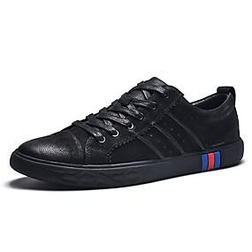baratos Tênis Masculino-Homens Sapatos de couro Pele Napa Primavera / Outono Casual Tênis Respirável Preto