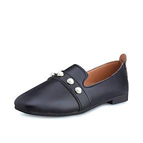 voordelige Damesinstappers & loafers-Dames Loafers & Slip-Ons Lage hak Vierkante Teen PU Lente zomer / Herfst winter Zwart / Beige