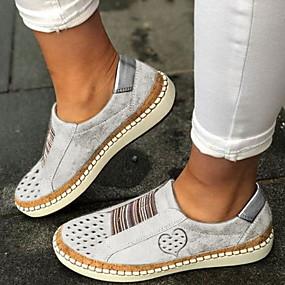 povoljno Ženske cipele bez vezica-Žene Natikače i mokasinke Ravna potpetica Okrugli Toe PU Ljeto Crn / Lila-roza / Obala