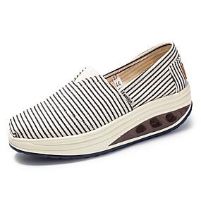 voordelige Damessneakers-Dames Sneakers Speciale hak Ronde Teen Canvas Informeel Lente zomer Zwart / Rood / Gestreept