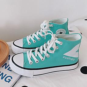 voordelige Damessneakers-Dames Sneakers Platte hak Ronde Teen Canvas Informeel / Studentikoos Hardlopen / Wandelen Lente zomer / Herfst winter Wit / Blauw / Paars / Oranje / leuze