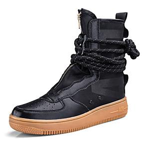 זול מגפיים לגברים-בגדי ריקוד גברים Fashion Boots עור / קנבס סתיו / סתיו חורף ספורטיבי / יום יומי מגפיים מגפיים באורך אמצע - חצי שוק קולור בלוק שחור / לבן / כתום