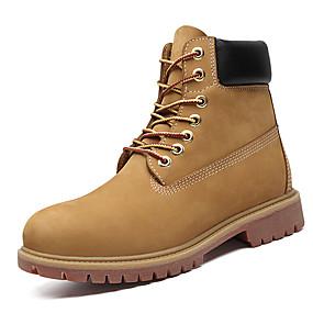 baratos Botas Masculinas-Homens Sapatos de couro Pele Napa Inverno Clássico / Casual Botas Manter Quente Botas Curtas / Ankle Amarelo