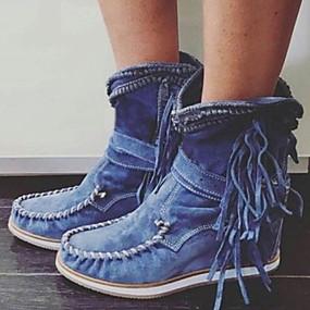 billige Mote Boots-Dame Støvler Flat hæl Rund Tå PU Støvletter Høst vinter Svart / Mørkebrun / Grønn