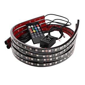billige Nyankomne i oktober-bil dekorative lys fargerike trådløs fjernkontroll musikk lydkontroll lampe omgivelseslys chassis lys 90 * 120cm