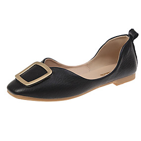 voordelige Damesschoenen met platte hak-Dames Platte schoenen Platte hak Vierkante Teen PU Zomer Zwart / Amandel / Groen