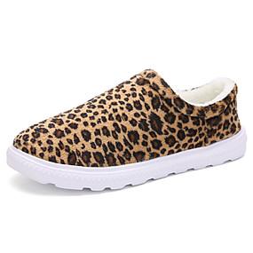 voordelige Damesinstappers & loafers-Dames Loafers & Slip-Ons Platte hak Ronde Teen Imitatiebont Informeel Winter Zwart / Geel / Khaki / Luipaard