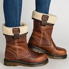 billige Mote Boots-Dame Støvler Flat hæl Rund Tå PU Støvletter Høst vinter Brun