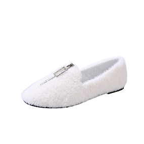 voordelige Damesinstappers & loafers-Dames Loafers & Slip-Ons Platte hak Ronde Teen Imitatiebont Informeel Wandelen Herfst winter Zwart / Kameel / Wit