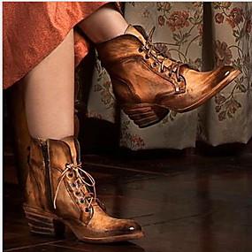 billige Mote Boots-Dame Støvler Tykk hæl Rund Tå PU Ankelstøvler Høst vinter Brun
