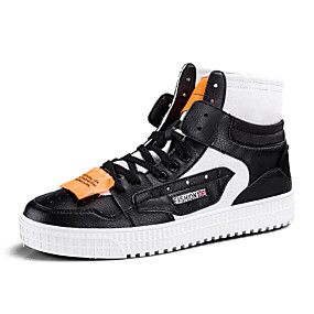 baratos Tênis Masculino-Homens Sapatos Confortáveis Couro Ecológico Primavera / Outono Esportivo / Casual Tênis Estampa Colorida Preto / Marron / Branco