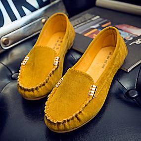 voordelige Damesinstappers & loafers-Dames Loafers & Slip-Ons Platte hak Ronde Teen Suède Zomer Zwart / Fuchsia / Geel