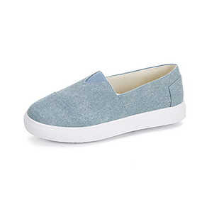 voordelige Damesinstappers & loafers-Dames Loafers & Slip-Ons Platte hak Ronde Teen Canvas Zomer Zwart / Lichtblauw / Oranje