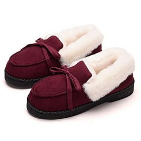 voordelige Damesschoenen met platte hak-Dames Platte schoenen Platte hak Ronde Teen Suède Herfst winter Zwart / Kameel / Paars