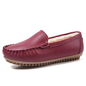 voordelige Damesinstappers & loafers-Dames Loafers & Slip-Ons Platte hak Ronde Teen Leer Informeel Winter Zwart / Wit / Oranje