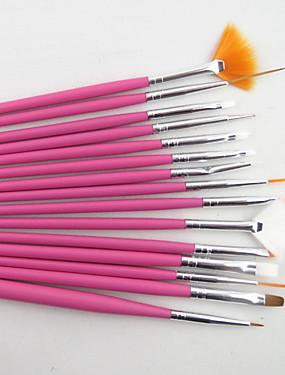 voordelige Nagelborstels-15pcs nail art design schilderij tekening pen borstel set (wit, roze, zwart 3 kleuren te kiezen)